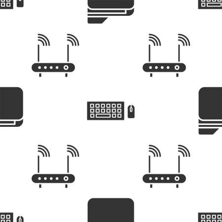 Set Document folder, Keyboard and mouse and Router and wifi signal on seamless pattern. Vector. 일러스트