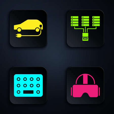 Set Virtual reality glasses, Electric car, Pills in blister pack and Server, Data, Web Hosting. Black square button. Vector.