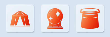 Set Magic ball, Circus tent and Magician hat. White square button. Vector.