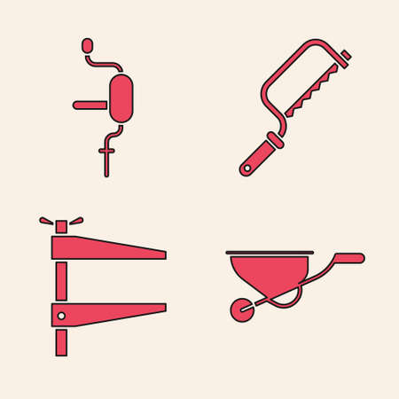 Set Wheelbarrow, Hand drill, Hacksaw and Clamp tool icon. Vector. 일러스트