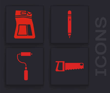 Set Hand saw, Cement bag, Pencil with eraser and Paint roller brush icon. Vector.