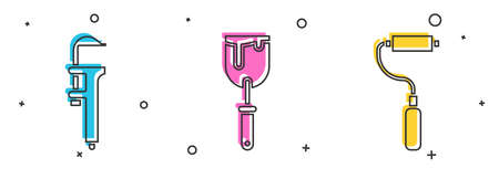 Set Calliper or caliper and scale, Putty knife and Paint roller brush icon. Vector.