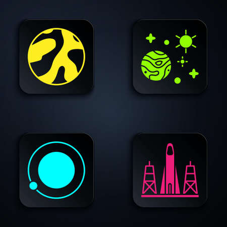 Set Rocket launch from the spaceport, Planet, Satellites orbiting the planet Earth and Space and planet. Black square button. Vector. Ilustracja