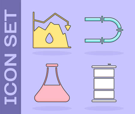 Set Barrel oil, Drop in crude oil price, Oil petrol test tube and Industry pipe icon. Vector.
