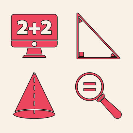 Set Calculation, Equation solution, Triangle math and Geometric figure Cone icon. Vector.