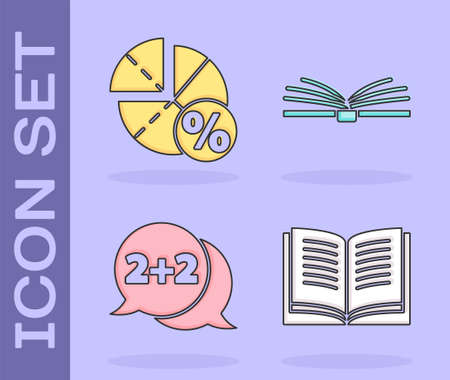 Set Open book, Graph, schedule, chart, diagram, Equation solution and Open book icon. Vector Illustration