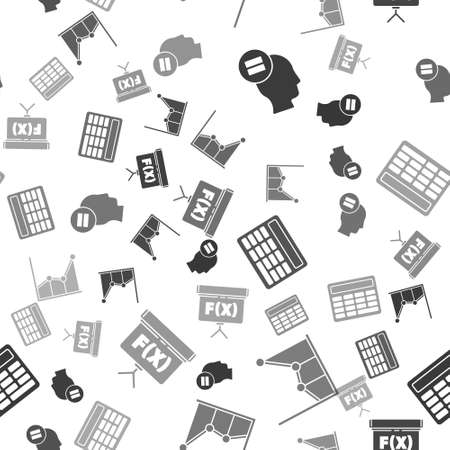 Set Calculation, Graph, schedule, chart, diagram, Calculator and Chalkboard on seamless pattern Vector Illustration 免版税图像 - 151153248