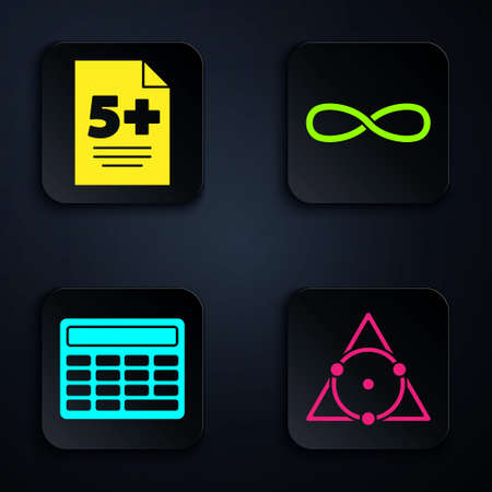 Set Triangle math, Test or exam sheet, Calculator and Infinity. Black square button. Vector. Stock Illustratie