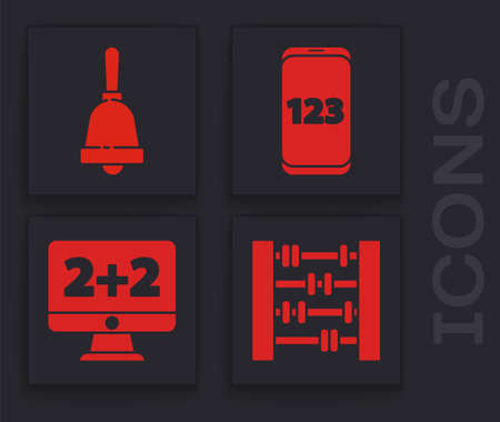 Set Abacus, Ringing bell, Mobile calculator interface and Equation solution icon. Vector.