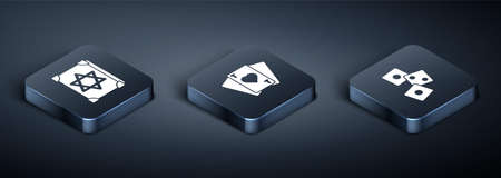 Set Isometric Ancient magic book, Game dice and Playing cards icon. Vector. 免版税图像 - 151153318