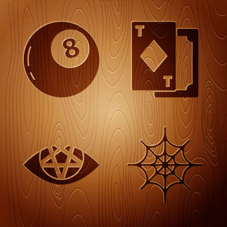 Set Spider web, Magic ball of predictions, Pentagram and Playing cards on wooden background. Vector.
