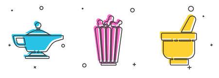 Set Magic lamp or Aladdin, Popcorn in box and Magic mortar and pestle icon. Vector.