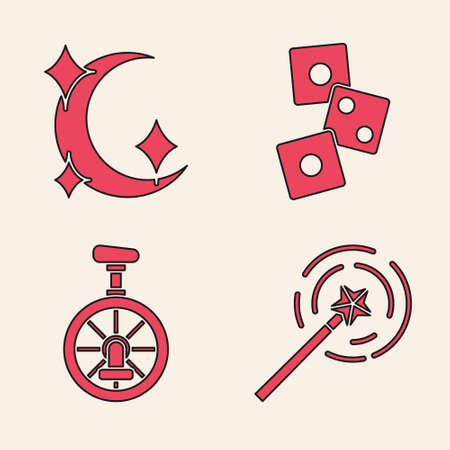 Set Magic wand, Moon and stars, Game dice and Unicycle or one wheel bicycle icon. Vector. Ilustracja