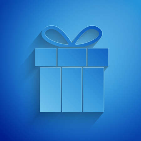 Paper cut Gift box icon isolated on blue background. Happy Birthday. Paper art style. Vector.