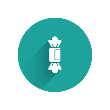 White Candy icon isolated with long shadow. Green circle button. Vector.