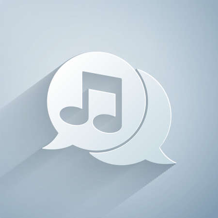 Paper cut Musical note in speech bubble icon isolated on grey background. Music and sound concept. Paper art style. Vector.
