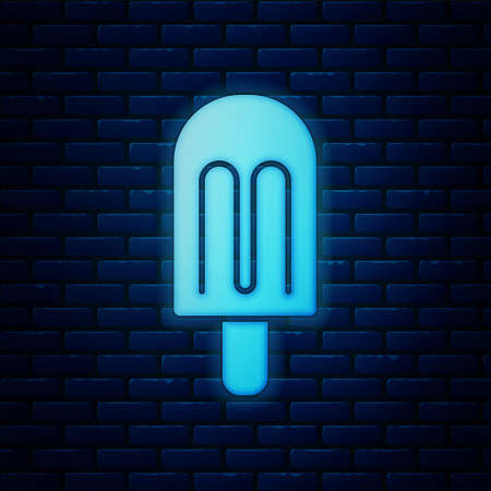 Glowing neon Ice cream icon isolated on brick wall background. Sweet symbol.  Vector.