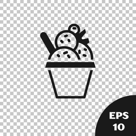 Black Ice cream in the bowl icon isolated on transparent background. Sweet symbol.  Vector. 矢量图像