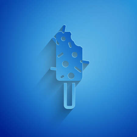 Paper cut Ice cream icon isolated on blue background. Sweet symbol. Paper art style. Vector. 矢量图像