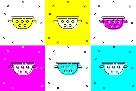 Set Kitchen colander icon isolated on color background. Cooking utensil. Cutlery sign.  Vector.