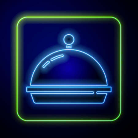 Glowing neon Covered with a tray of food icon isolated on blue background. Tray and lid. Restaurant cloche with lid. Kitchenware symbol.  Vector. Ilustração