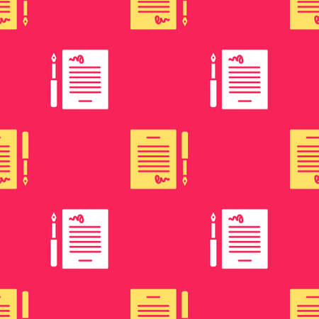 Yellow Marriage contract icon isolated seamless pattern on red background. Wedding certificate. Vector. Ilustrace