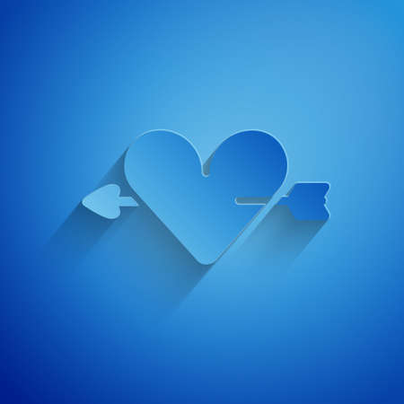 Paper cut Amour symbol with heart and arrow icon isolated on blue background. Love sign. Valentines symbol. Paper art style. Vector. Ilustracja