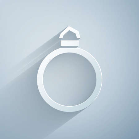 Paper cut Diamond engagement ring icon isolated on grey background. Paper art style. Vector.