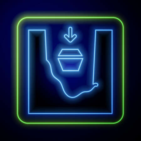 Glowing neon Coffin in grave icon isolated on blue background. Funeral ceremony. Vector.