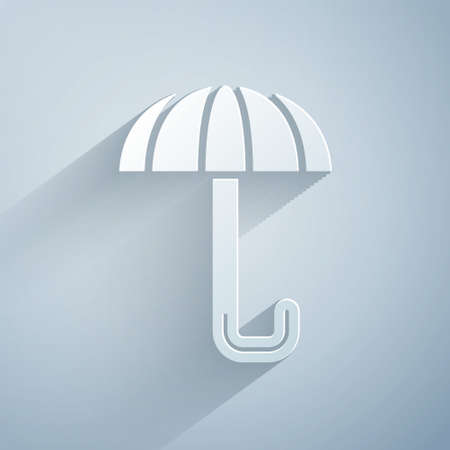 Paper cut Classic elegant opened umbrella icon isolated on grey background. Rain protection symbol. Paper art style. Vector.