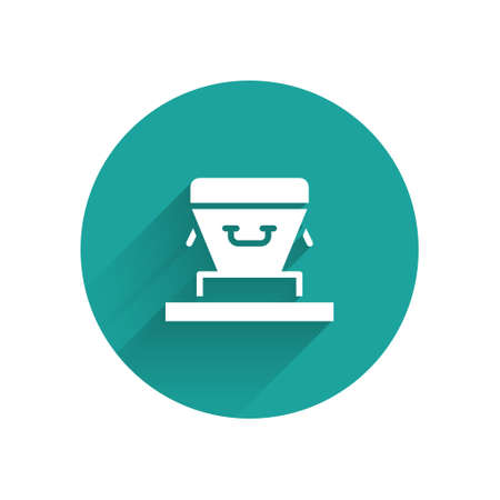 White Coffin icon isolated with long shadow. Funeral ceremony. Green circle button. Vector.