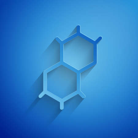 Paper cut Chemical formula icon isolated on blue background. Abstract hexagon for innovation medicine, health, research and science. Paper art style. Vector.