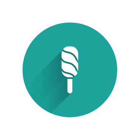 White Ice cream icon isolated with long shadow. Sweet symbol. Green circle button. Vector.