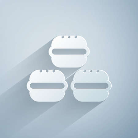 Paper cut Macaron cookie icon isolated on grey background. Macaroon sweet bakery. Paper art style. Vector. Ilustracja