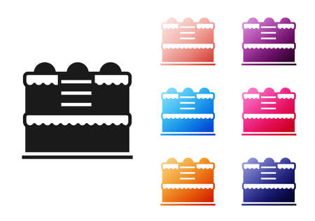 Black Cake icon isolated on white background. Happy Birthday. Set icons colorful. Vector.