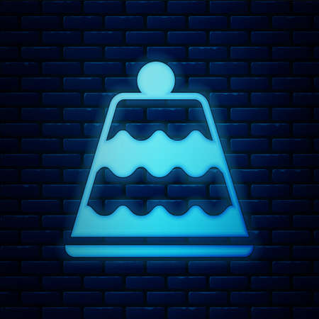 Glowing neon Cake icon isolated on brick wall background. Happy Birthday. Vector.