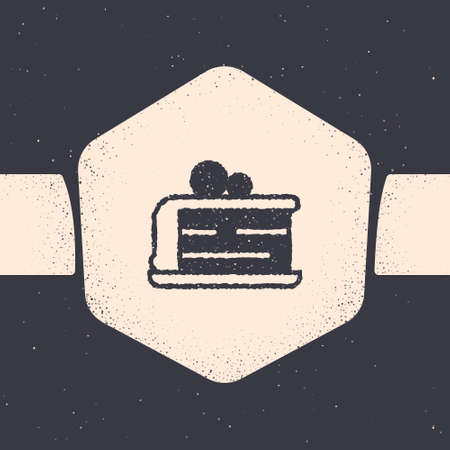 Grunge Piece of cake icon isolated on grey background. Happy Birthday. Monochrome vintage drawing. Vector.