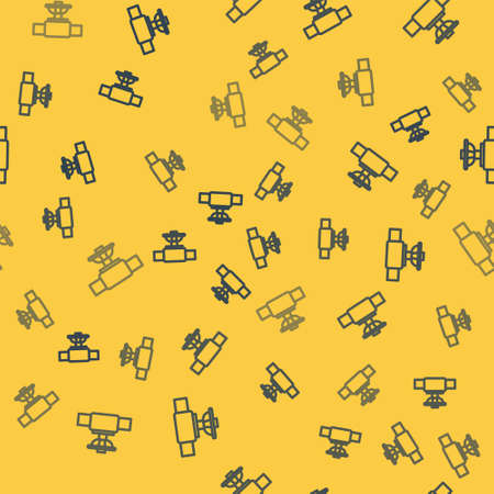 Blue line Industry metallic pipe and valve icon isolated seamless pattern on yellow background. Vector Illustration. Ilustração