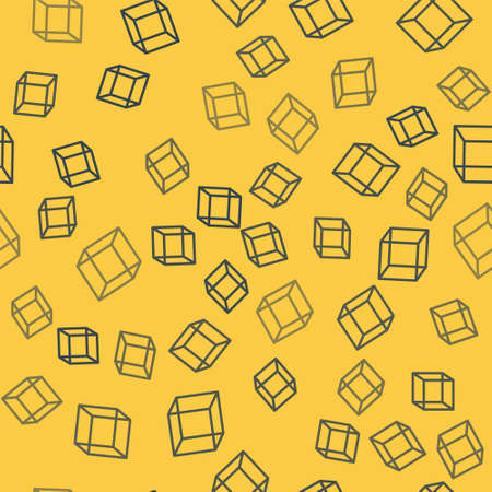 Blue line Function mathematical symbol icon isolated seamless pattern on yellow background. Vector Illustration.