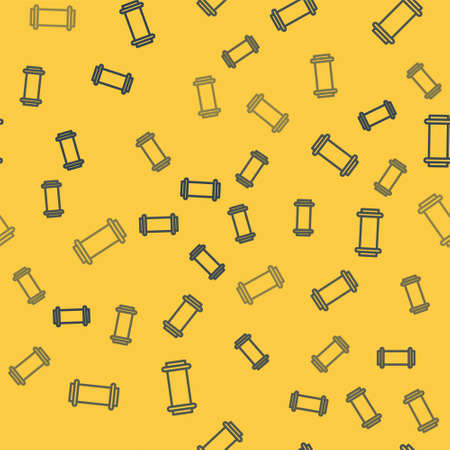 Blue line Industry metallic pipe icon isolated seamless pattern on yellow background. Vector Illustration.
