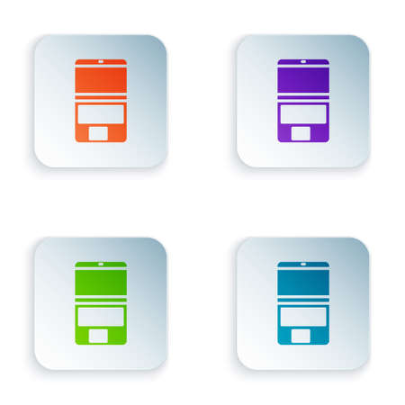 Color Laptop icon isolated on white background. Computer notebook with empty screen sign. Set colorful icons in square buttons. Vector Illustration.