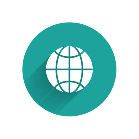 White Global technology or social network icon isolated with long shadow. Green circle button. Vector Illustration.