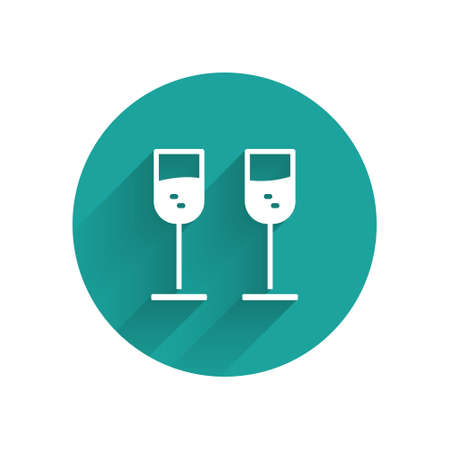 White Glass of champagne icon isolated with long shadow. Green circle button. Vector. Ilustracja