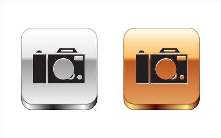 Black Photo camera icon isolated on white background. Foto camera icon. Silver-gold square button. Vector.