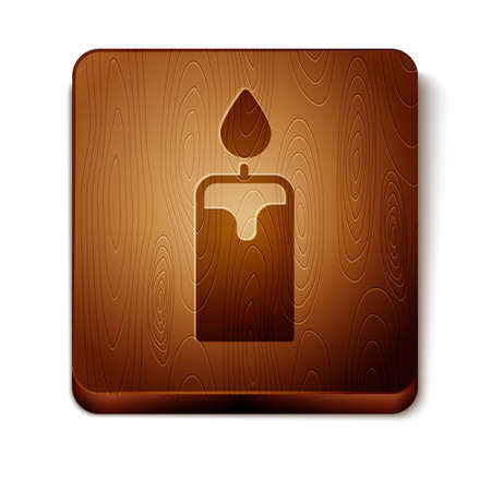 Brown Burning candle icon isolated on white background. Cylindrical candle stick with burning flame. Wooden square button. Vector.