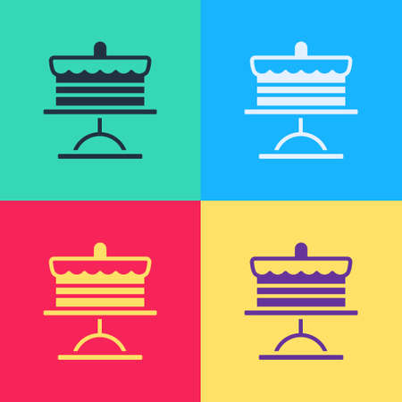 Pop art Cake on plate icon isolated on color background. Happy Birthday. Vector.