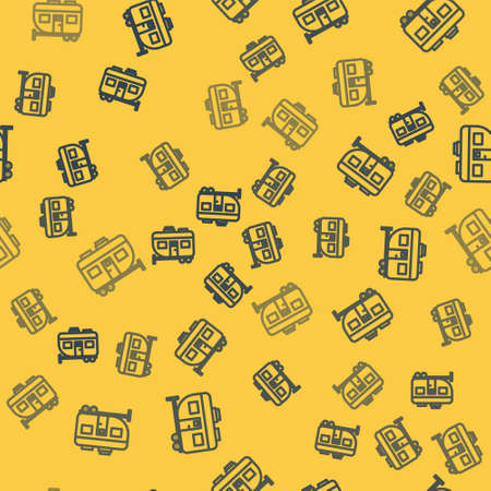 Blue line Rv Camping trailer icon isolated seamless pattern on yellow background. Travel mobile home, caravan, home camper for travel. Vector Illustration.