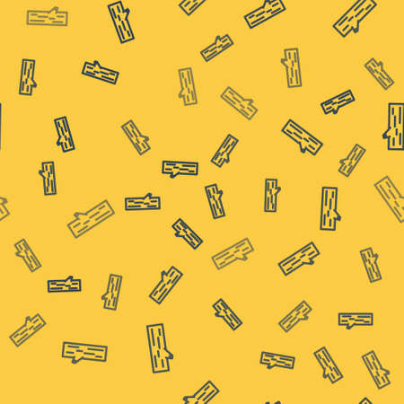 Blue line Wooden log icon isolated seamless pattern on yellow background. Vector Illustration. Ilustrace