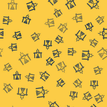 Blue line Campfire and pot icon isolated seamless pattern on yellow background. Fire camping cooking in cauldron on firewood and flame. Vector Illustration.