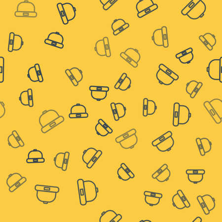 Blue line Beanie hat icon isolated seamless pattern on yellow background. Vector Illustration.